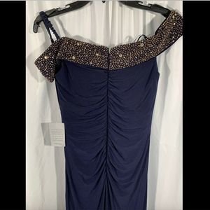 Xscape Dresses - NEW $218 XSCAPE Off the Shoulder Beaded Gown Navy
